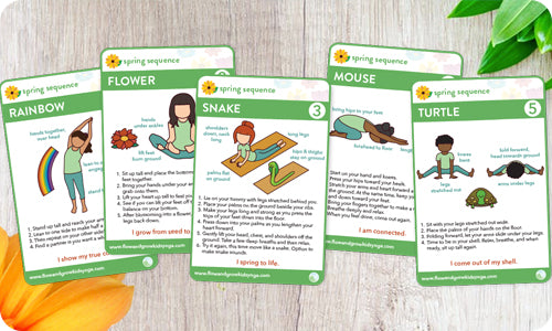 Spring Kids Yoga Sequence: Card Deck