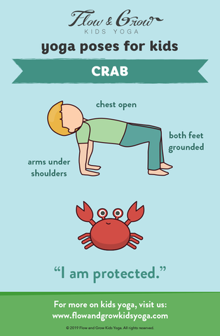 yoga poses for kids crab  pose breakdown  flow and grow