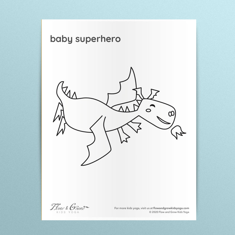 Dragon Baby Superhero Coloring Page
