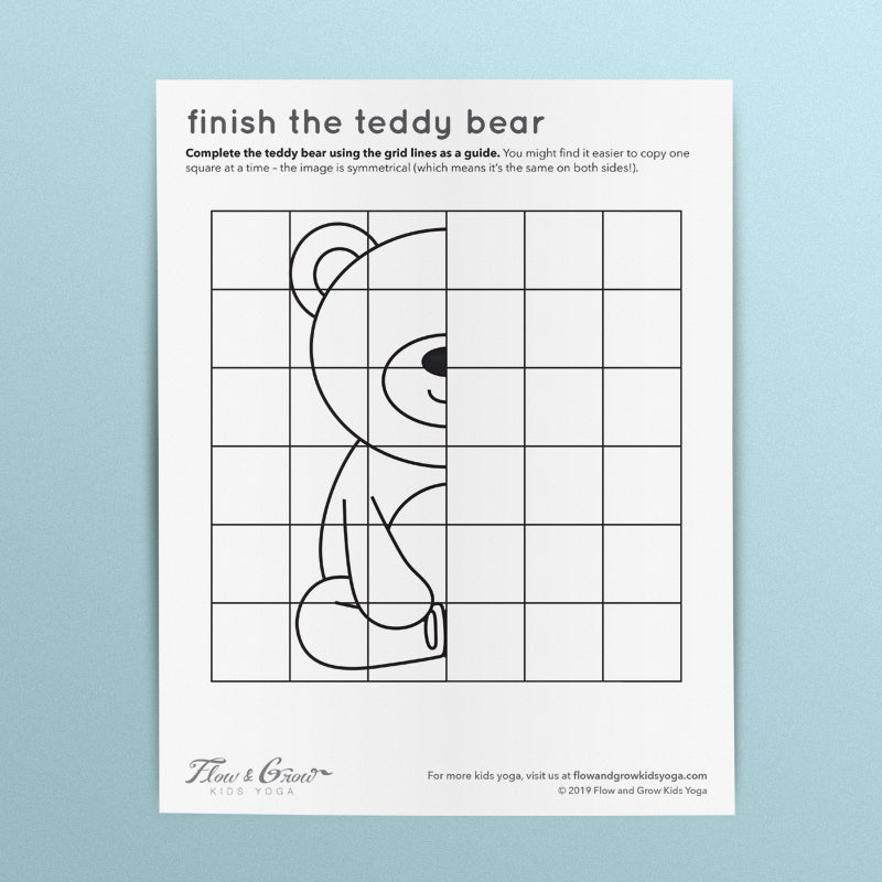 Finish the Teddy Bear Coloring Page