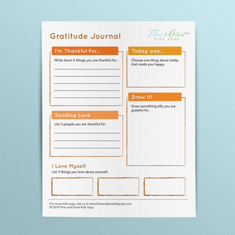 Gratitude Journal Worksheet Downloadable Printables For Kids Flow And Grow Kids Yoga