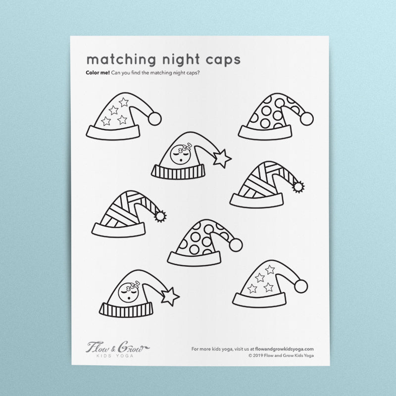 Matching Night Caps Coloring Page