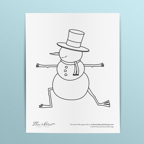 Snowman in Warrior I Coloring Page