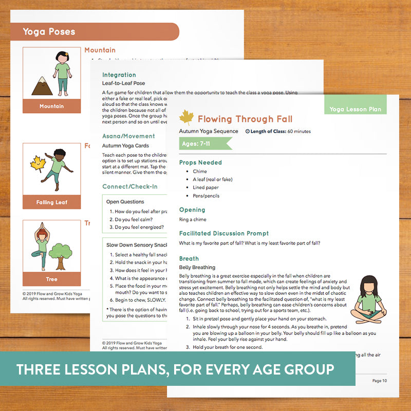 Kids Autumn Sequence Yoga Cards And Lesson Plans Teaching Resource Flow And Grow Kids Yoga