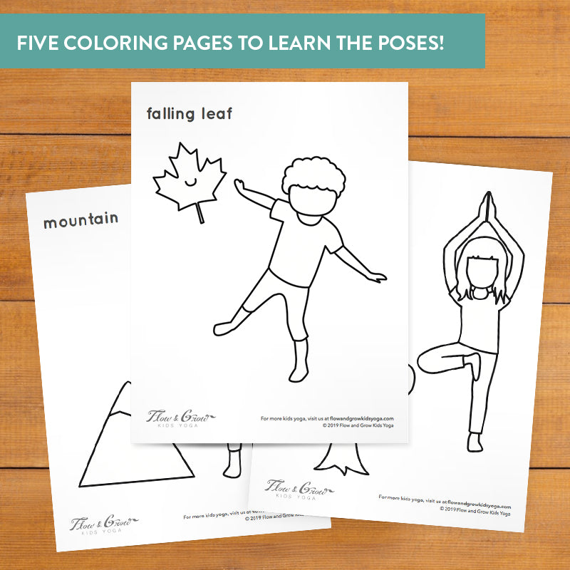 Autumn Yoga Coloring Pages For Kids Mindfulness And Sel Learning Flow And Grow Kids Yoga