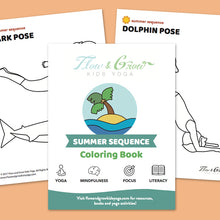 Load image into Gallery viewer, Summer at the Beach Yoga Cards and Coloring Book
