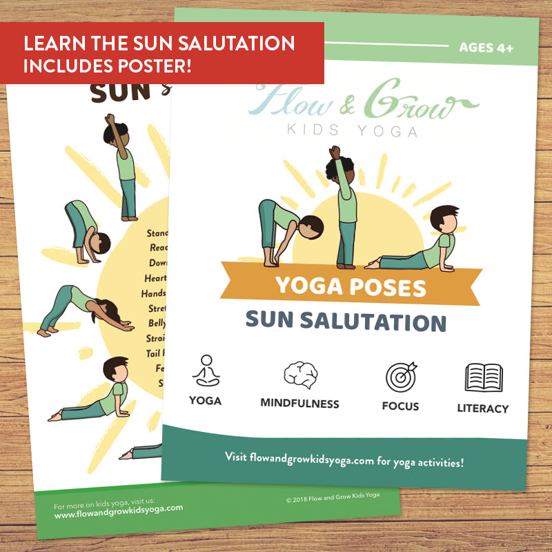 Kids Sun Salutation Yoga Cards Printable Deck Instant Download Flow And Grow Kids Yoga