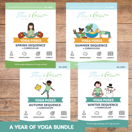 A Year Of Yoga Bundle Yoga And Mindfulness Lesson Plans Yoga Cards Flow And Grow Kids Yoga