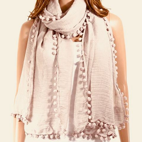 Beige Pom Pom Scarf. Scarves are perfect for the season. Affordable luxury. Neutral colours. Chic.