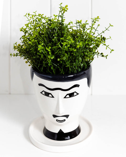Black & White Face Vase. This handsome man is perfect for small to medium plants. Great gift idea.
