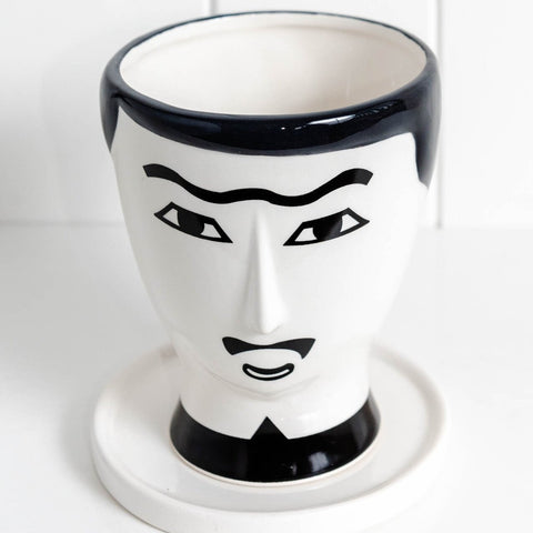 Black and White Face planter - Monsieur Lucien, this handsome devil is perfect for planter lovers