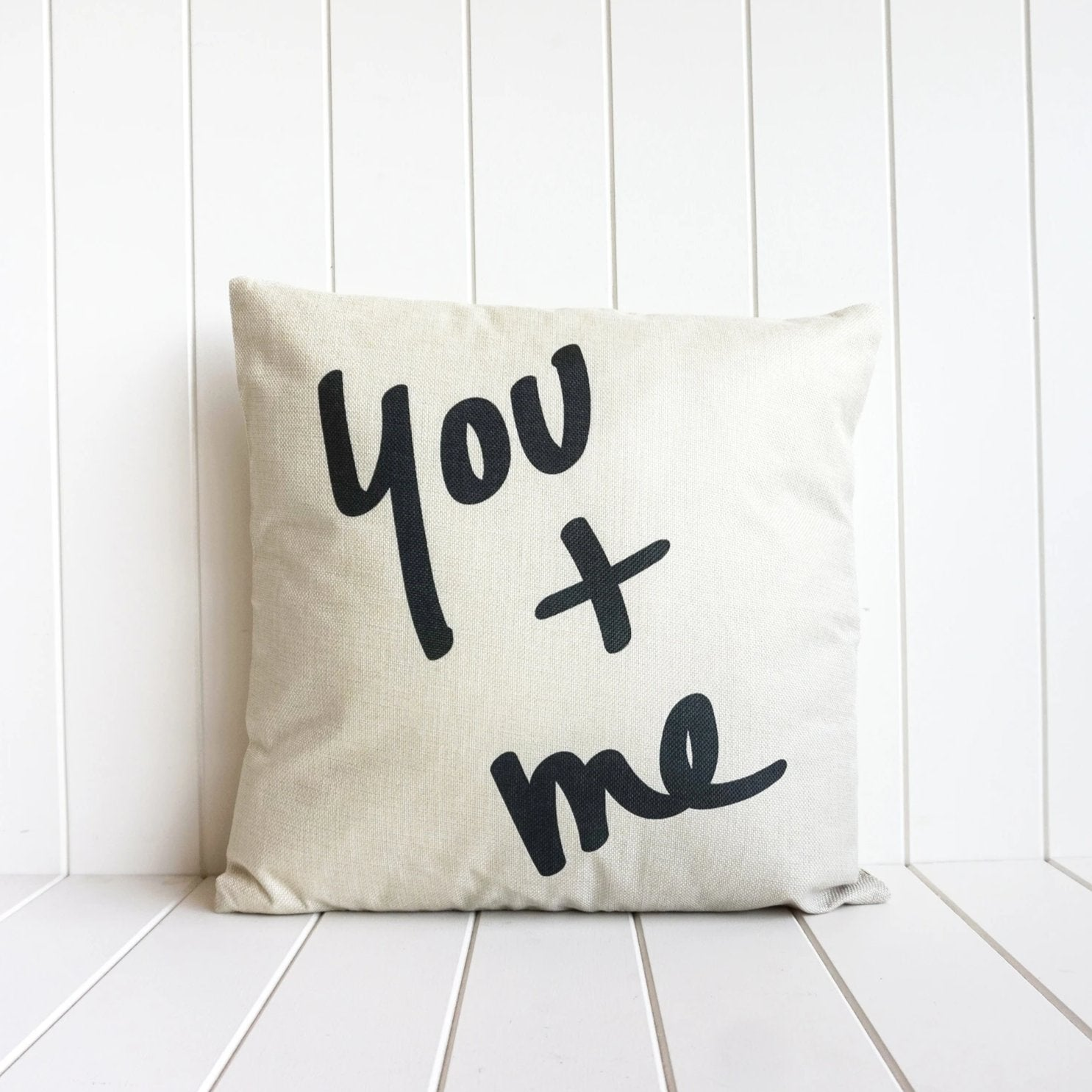 You and Me Cushion in neutral colours. Perfect on the sofa or bedroom. 45cm. Soft Furnishings decor.