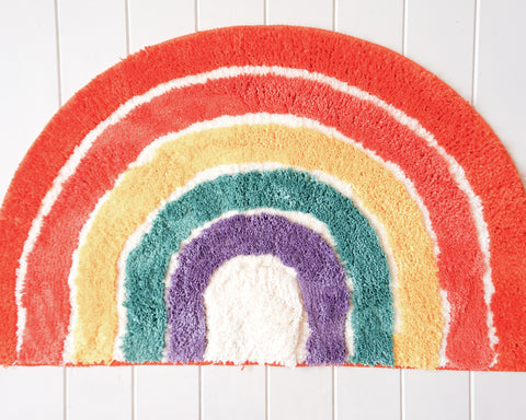 Rainbow bright bath mat. Perfect for interior styling with colour. Fun bathtime decor. Great gift
