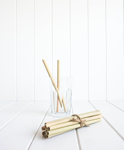 Enjoy a tropical and environmentally friendly experience with this set of 12 bamboo straws. So luxe.