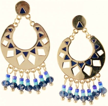 Beautiful Gold and Blue Dangle Beaded earrings available at Hello Bella Lifestyle. Great quality.