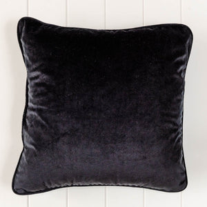 Elegant Black Velvet Cushion. Feather insert. For the sofa, chair or bedroom. 45cm. Interior luxury