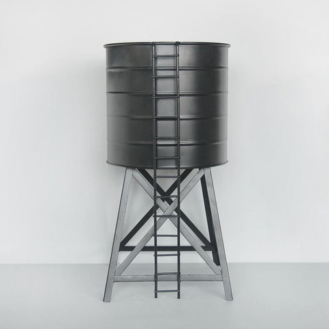 Water Tower Planter in black by White Moose. Indoor Garden lovers. Perfect for plants and greenery.