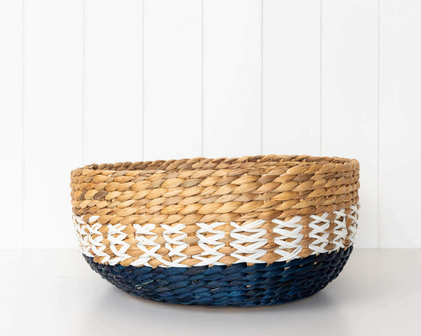 Large Basket Bowl - Part of a set of 3 baskets. Made of Water Hyacinth. Blue & neutral colours.