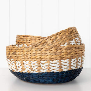 Wisteria Basket Set - Set of 3 baskets in natural materials. Perfect for Storage or fruit bowls.