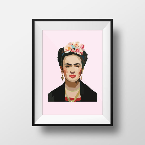Frida Kahlo Premium Framed Wall Print with Black Frame. Soft Pink background and iconic Frida.