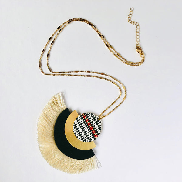 Woven Fan Statement Necklace