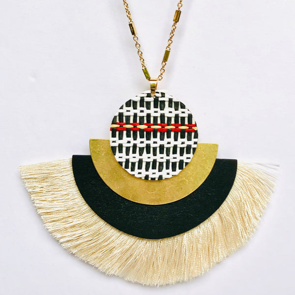 Woven Fan Fringe Necklace