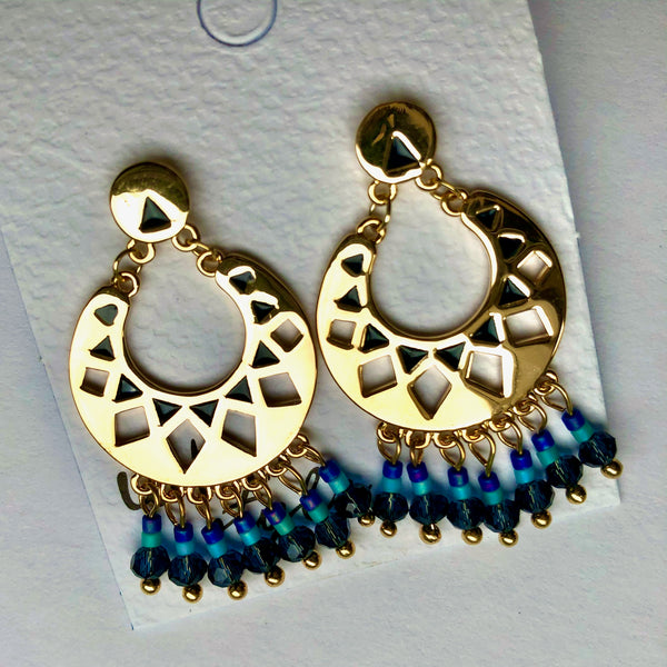 Blue Beaded Moon Drop Earrings