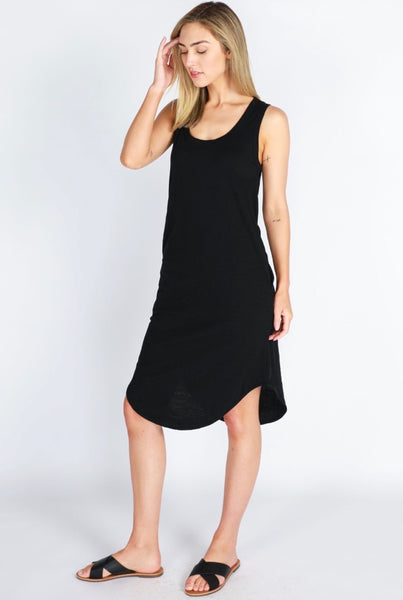 Black Bailey Midi Dress - perfect, relax and casual dress falling below the knee. Features pockets.
