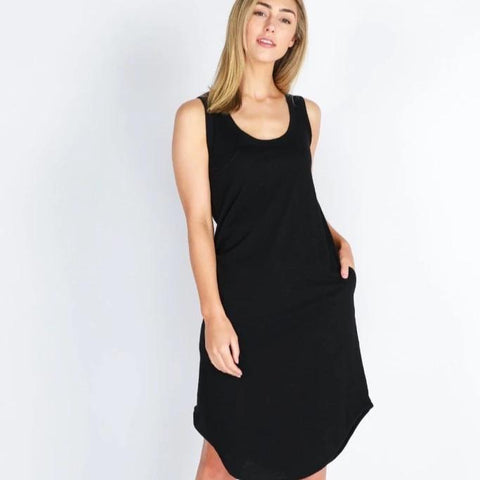 This Bailey Black Midi Dress is the perfect comfortable dress to relax with friends on the weekend.