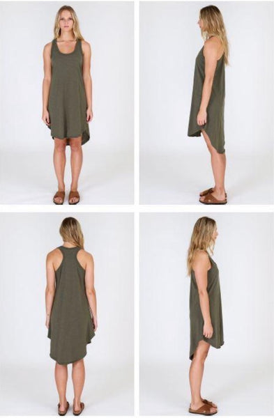 Khaki Green Basic Dress in 100% cotton. Great quality, shorter at the front and longer at the back.