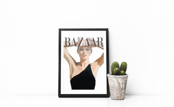 Kate Moss Framed Wall Print. Premium quality with Black Frame. Perfect for modern interiors and art