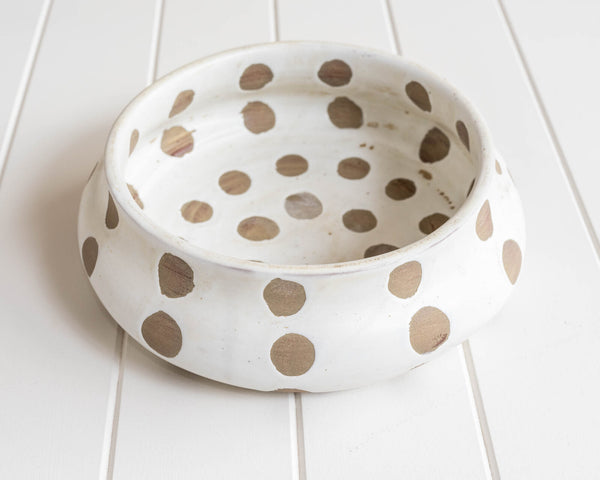 Kusama White Terracotta Bowl. Modern homewares that will add style to any tabletop. Showpiece.
