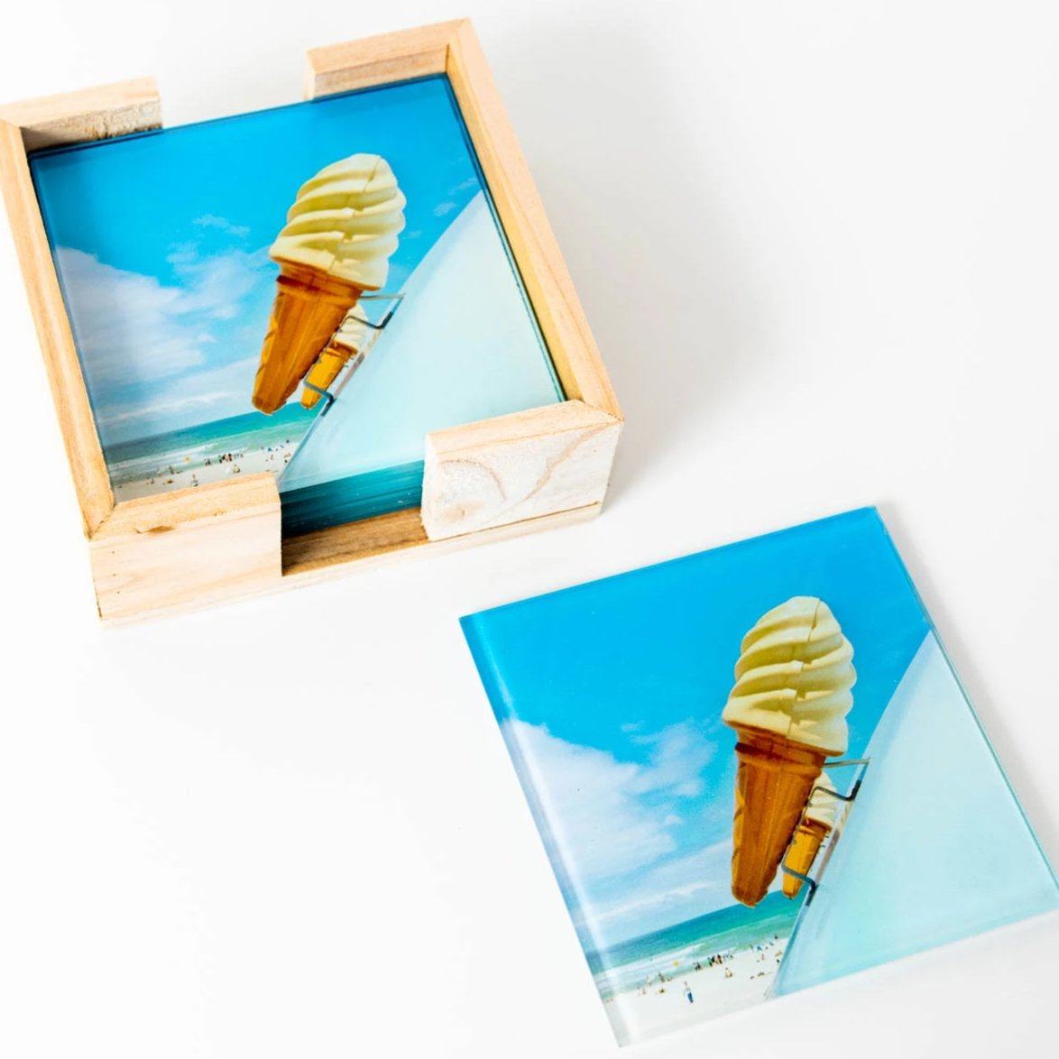 Set of 6 Ice-cream glass coasters, photography by Australian artist JD.  Photographed at Bondi Beach