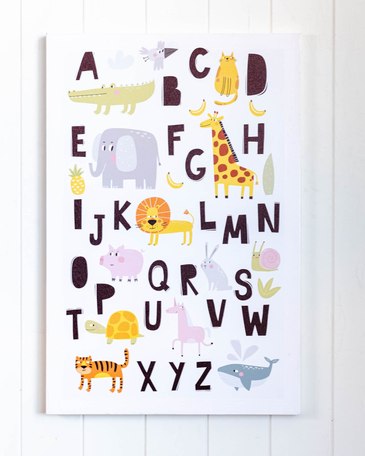 Animal Alphabet Canvas Wall Print. Great for art and learning. Ideal for a kids or baby room