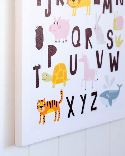 Animal Alphabet Wall Decor - Great for a bedroom or play area. Promotes learning & fun with mum/dad