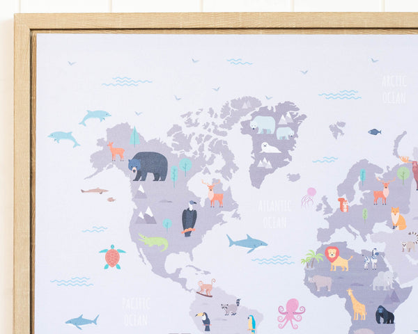A perfect Framed Animal Print & World Map to promote learning for your little ones / kids. Stunning!