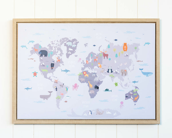 Animals of the World Framed Canvas Print features a world map of all international animal. Yes!