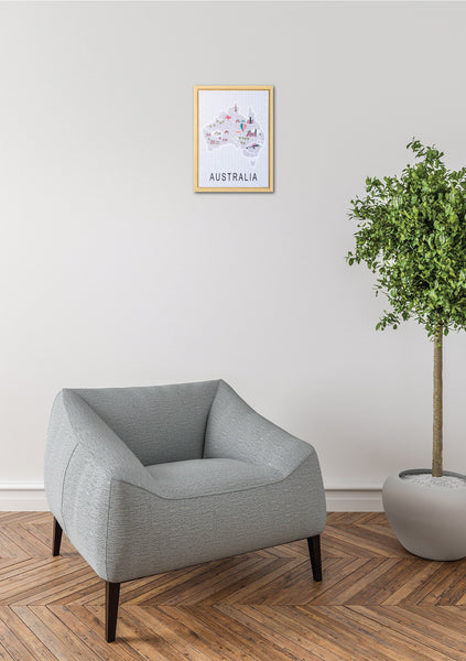 This Wall Print Artwork featuring a beautiful map or Australia is a perfect gift idea. Hello Bella
