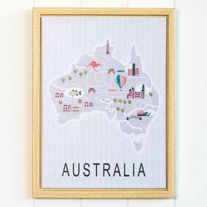 Map of Australia Canvas Framed Wall Print. Beautiful Wall Decor for any Australian. Be Patriotic