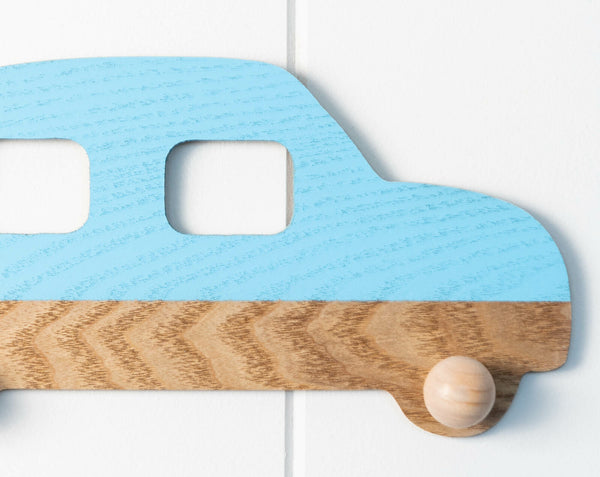 Great organisation is easy with the car wall hook. In blue and natural wood, affordable home decor