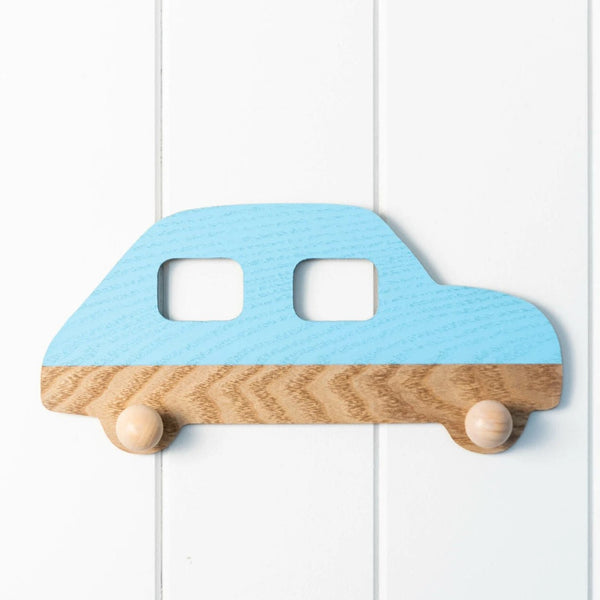 Blue Wooden Wall Hook featuring Benny the Blue Car. Good for a kids bedroom or bathroom, school bags