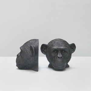 Black Monkey Resin Bookends by White Moose. Perfect for the bookcase. Bold, Black, Decor heaven.