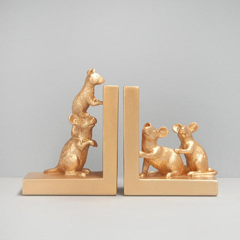 Gold Mouse / Mice Bookends. Perfect gold interior styling decor. Christmas gift idea. Fun, unique