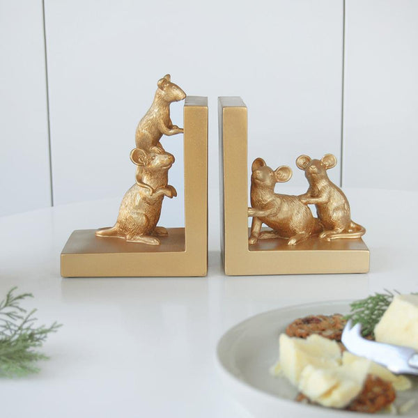 Gold mice bookends. Heavy set bookends - perfect for the bookcase or shelf. Homewares ideas. Fun.