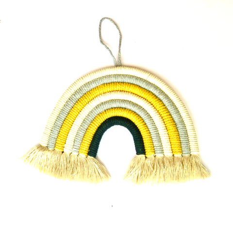Hanging Wall Rainbow with Neutral colours. Soft mustard, beige & greys. Perfect wall decor. Cotton