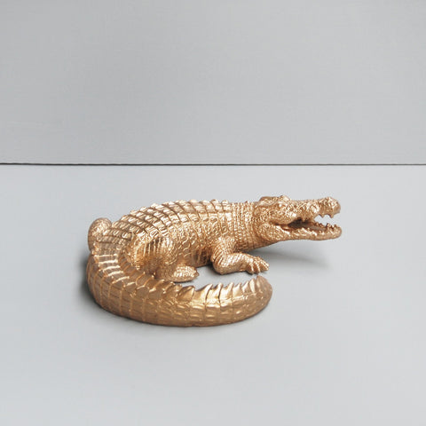 This Gold Crocodile home decor is perfect for a table top or shelf. Interior styling perfection.
