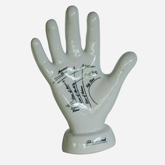 Ceramic porcelain style vintage palmistry hand. Learn to read palms or pure home decor.  Gift idea