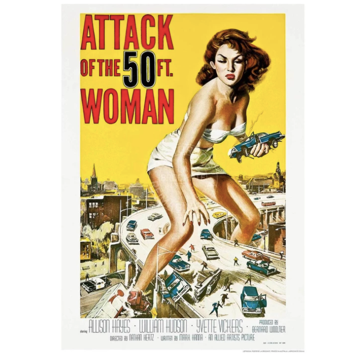 Retro / Vintage - Attack of the 50 foot woman movie poster Wall Print Hello Bella Lifestyle online