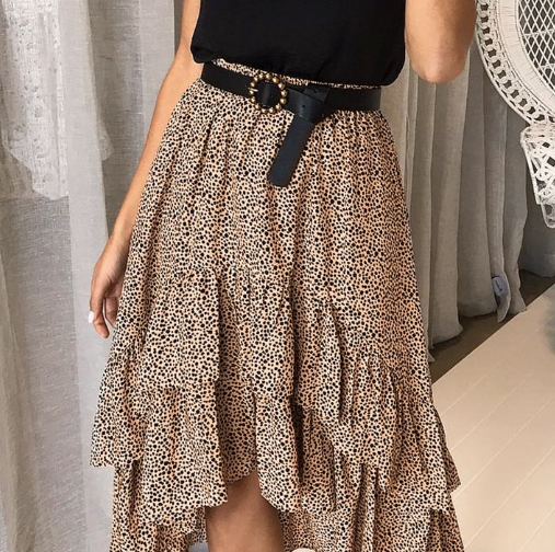 Spotted Light Brown Skirt with Black Dots.  Fun frills and Ruffles completes the style. Bargain buy.