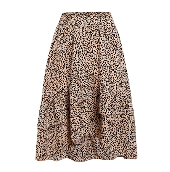 Spotted Ruffle Skirt. Fun & flirty, this skirt is light brown in colour with black dots.  Fun frills